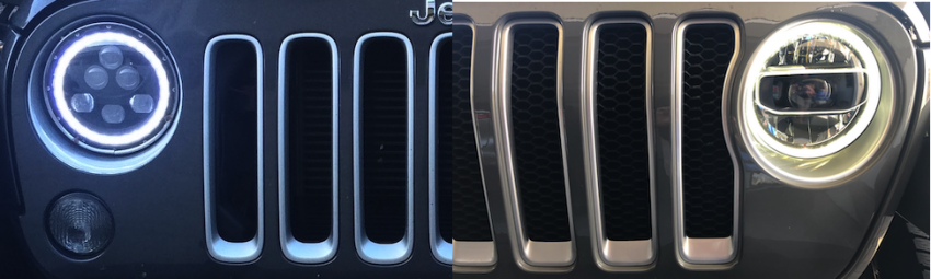 Halo V Ring Headlights on Jeep JK and JL